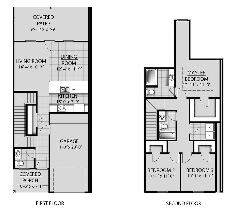 3 Bed / 2.5 Bath Oak Plan